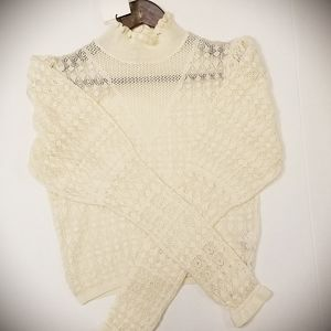 Zara Pointelle Crop Top Sweater